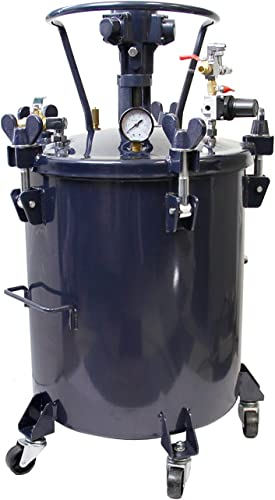 TCP Global Commercial 10 Gallon 40 Liters Spray Paint Pressure Pot Tank with Air Powered Mixing Agitator
