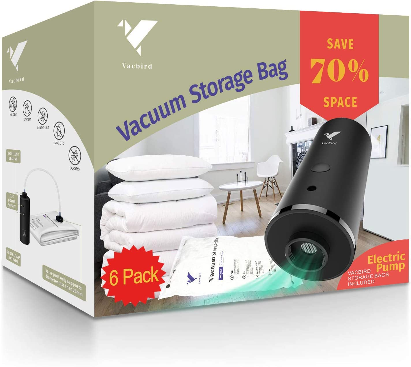 Vacbird Vacuum Storage Bags with Electric Pump, 6 Pack (3 x Small, 3 x Medium) for Comforters Blankets Clothes Pillows Travel Space Saver Seal Bag: Home & Kitchen