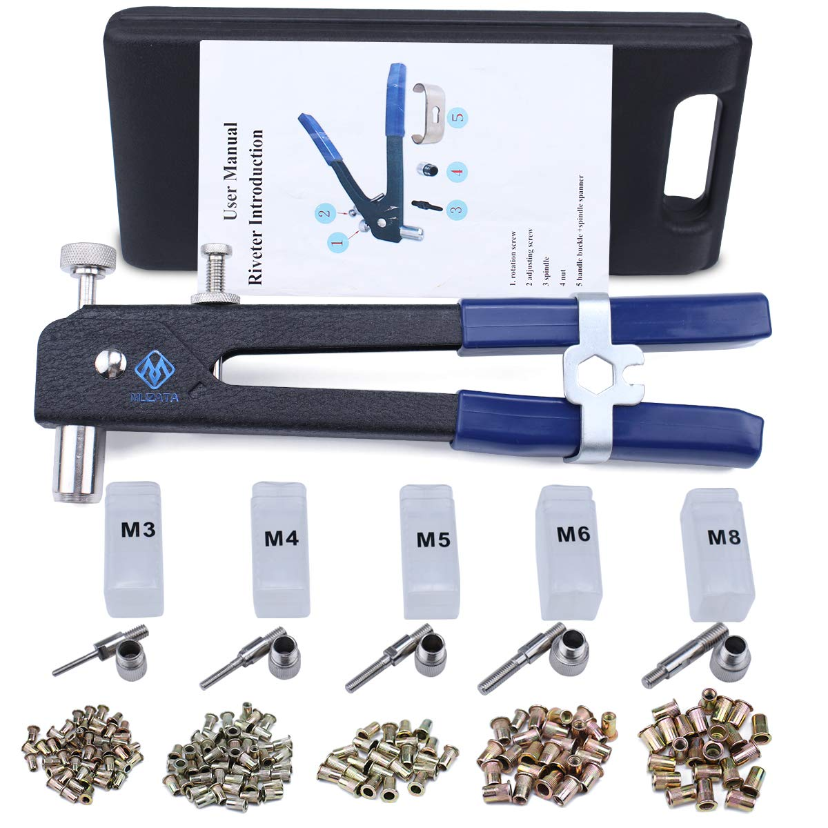 Muzata Hand Rivet Gun Nut Setter Kit,Thread Blind Riveting Tools,Wrench Nut Sert,5pc Metric Mandrels and 130pc M3/M4/M5/M6/M8 Rivnuts,Rugged Carrying Case RK01
