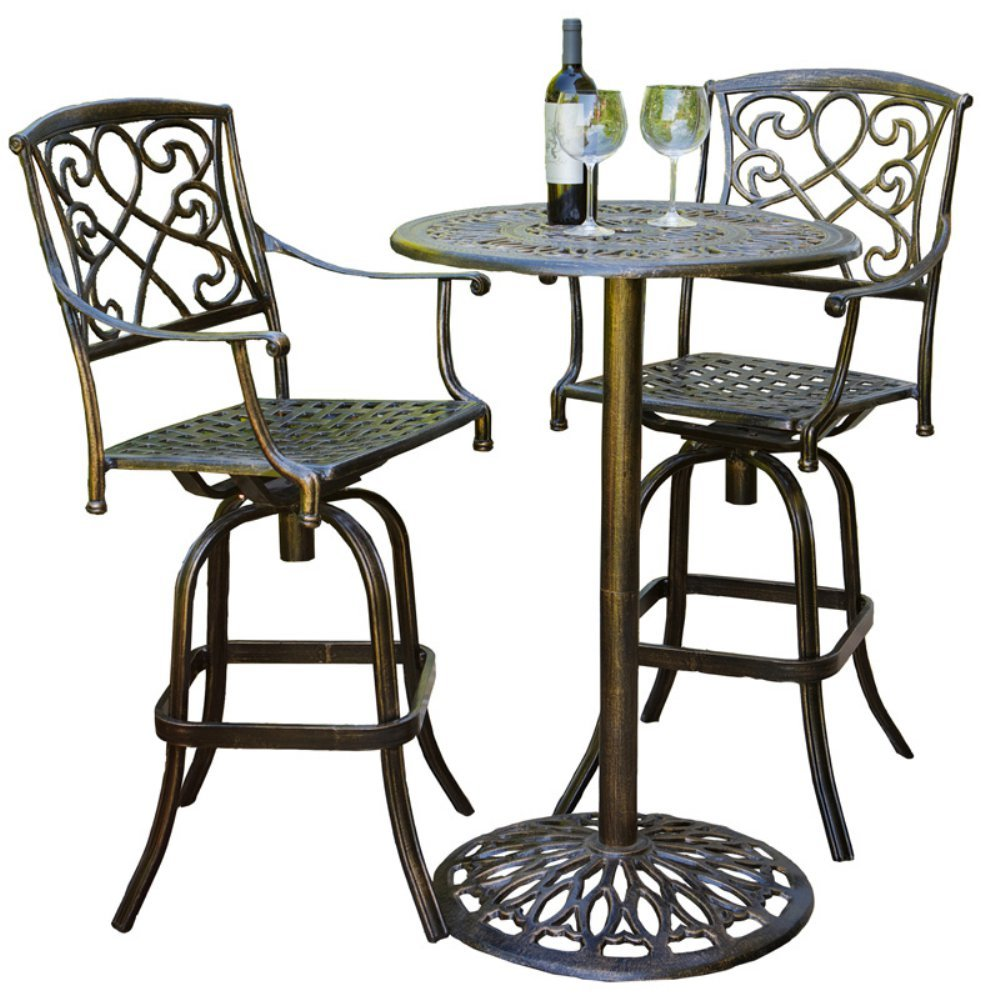 Best Selling Home Cast Aluminum Brown Outdoor Bistro Bar Set