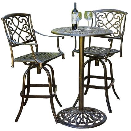 amazon com cast aluminum brown outdoor bistro bar set garden outdoor