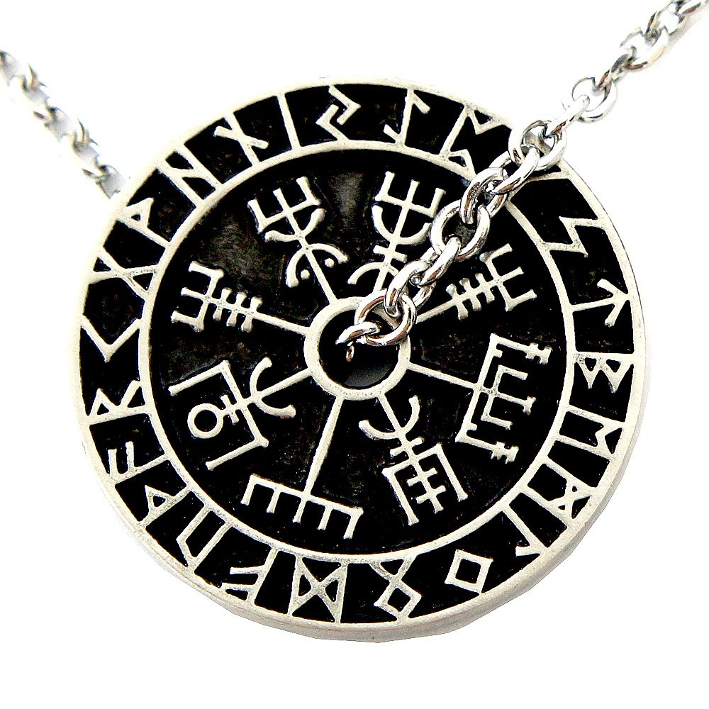 Nordic coin amulet Vegvísir odin triple horn triquetra valknut all in one pewter pendant (Stainless Steel Chain)