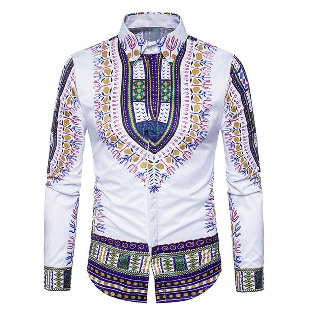 Enjoybuy Mens Shirts Dashiki Button Down Slim Fit Shirt African Ethnic Printed Long Sleeve Dress Shirt (Large, 02-Purple)
