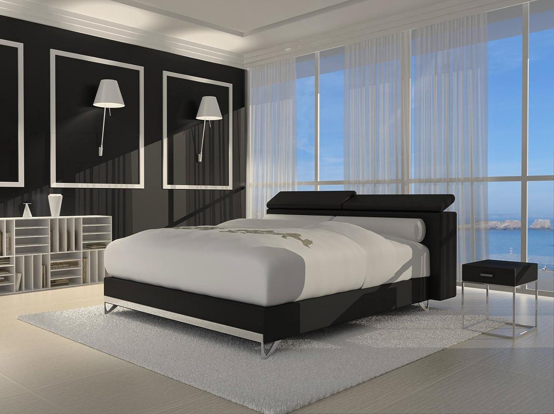 SAM® Design Boxspringbett Wendigo Opera 180 x 200 cm schwarz mit 7-Zonen H3 Taschenfederkern-Matratze, gesteppten Viscoschaum-Topper, Memory-Effekt, Chrom-Füße, optimale Einstiegshöhe