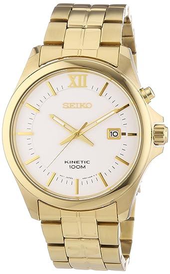 Seiko Kinetic SKA576P1 - Reloj analógico de cuarzo para hombre, correa de acero inoxidable chapado