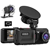 Kingslim D1 Dual Dash Cam with Built-in GPS, 1080P Front and Rear Dash Camera for Cars, Parking Emergency & Security Monitori