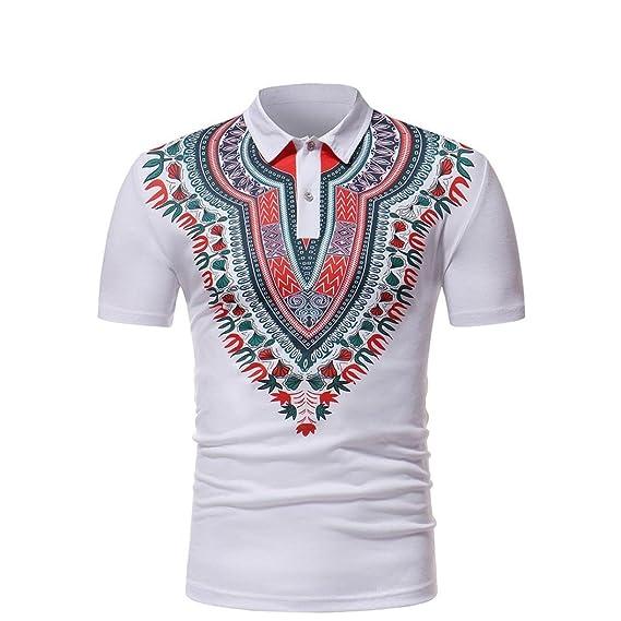 Cinnamou Camisa de Polo de Moda de Manga Corta de Estilo Africano de los Hombres Camiseta