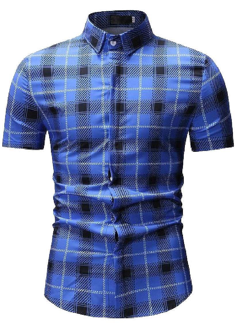 Pandapang Mens Short Sleeve Plaid Casual Striped Summer Button Front Shirt