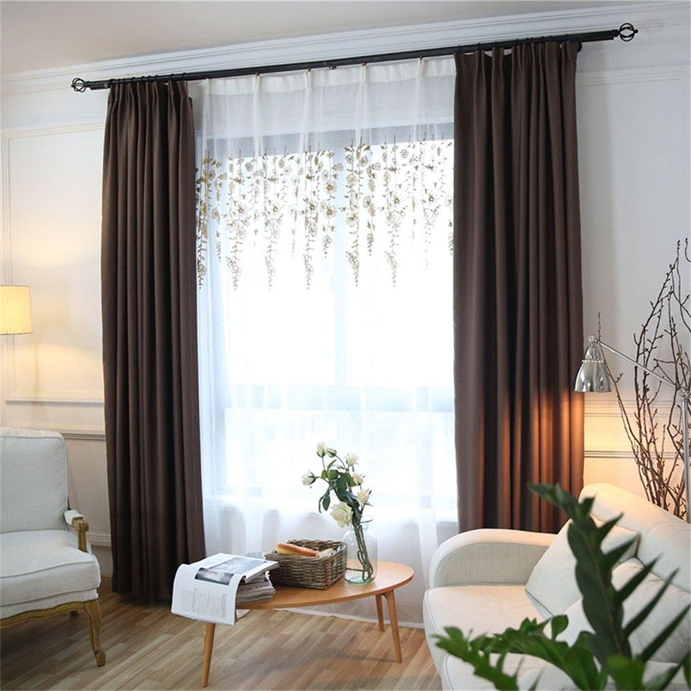 HOME UK- Ein Satz von 2 PC Verdickung Voll Schattierung Vorhang Moderne minimalistische Wohnzimmer Schlafzimmer Normallack Fertige Produkte ( farbe : Curtain And Yarn , größe : 3*2m )