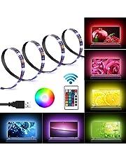 Kohree LED Light Strip 2M/6.56ft for 40-60in USB TV Backlight Bias Lighting Kits with Remote RGB 16 Colors for HDTV Neon Light TV Desktop PC Laptop, 3 Strips in 1 Set