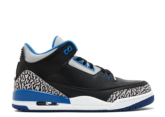 brand new 864b7 4fc03 Amazon.com   Jordan Air 3 Retro Men s Shoes Black Sport Blue-Wolf Grey  136064-007   Basketball
