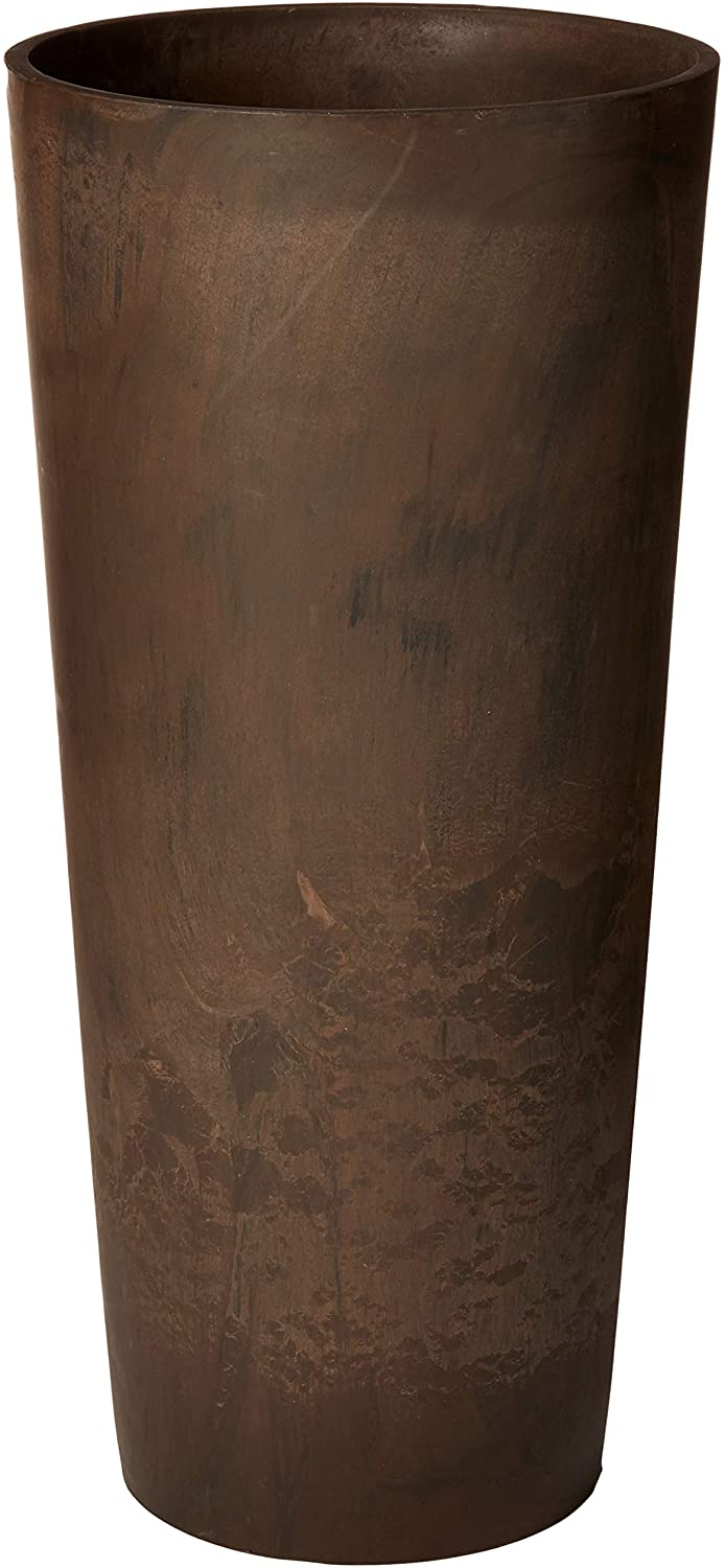 Arcadia Garden Products PSW S32CM Contempo Tall Round Planter, 13 by 28-Inch, Chocolate Marble