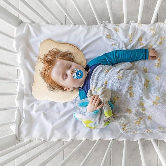 Almohada Bebé Cojín Cuna para Plagiocefalia Ortopédica de Memoria Forma Antiasfixia para Cabeza Plana 0~12 Meses Diseño Ergonómico con Tres Colores ...