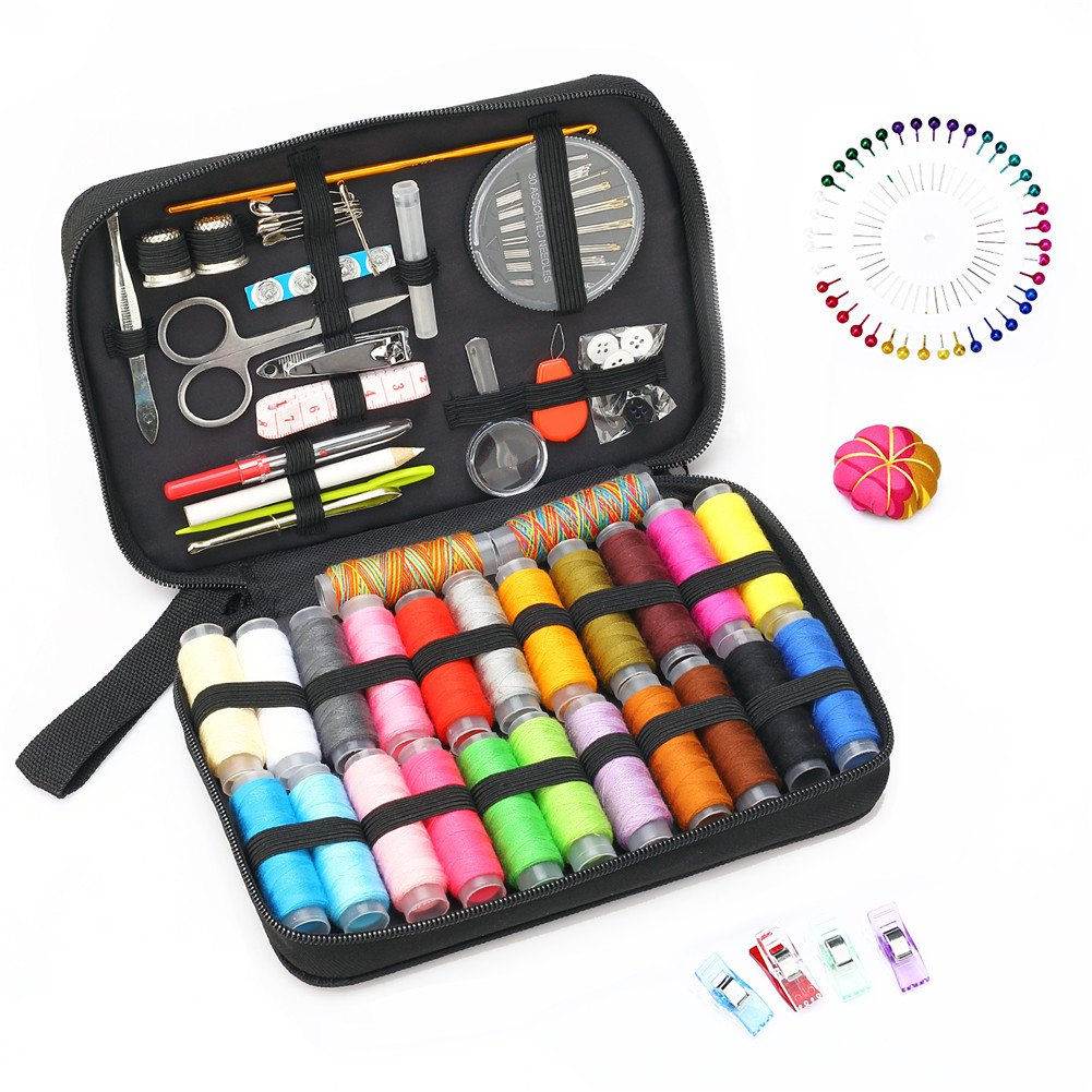GBATERI Sewing Kit - Over 132 DIY Premium Sewing Accessories Box Set with 24 Spools of Thread,Sewing Clips-Portable Basic Sew Kits for Beginner,Traveller, Summer Campers, Emergency Sewing Supplies to Repairs and Mending