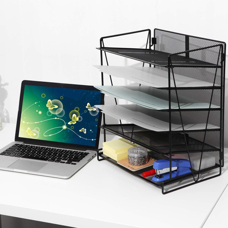 color negro Bandeja para documentos Samstar A4, metal, para oficina y hogar, 6 pisos