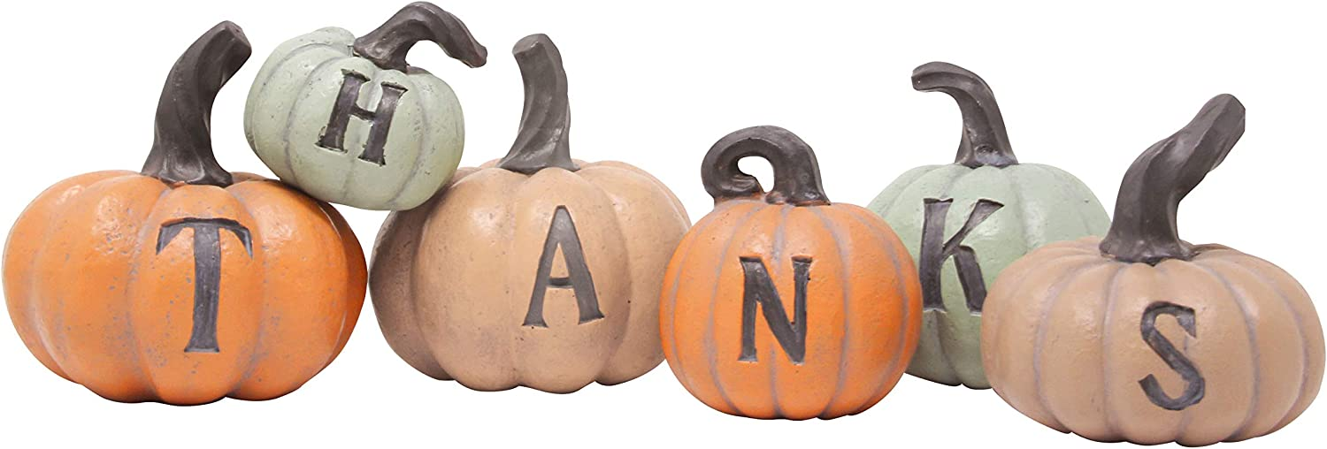 JOYIN Thanks Pumpkin Decoration | Thanksgiving 6 pcs Hand-Painted Pumpkins Fall House Decor for Thanksgiving Harvest Day Tabletop Collection, Kitchen Living Room Bedroom