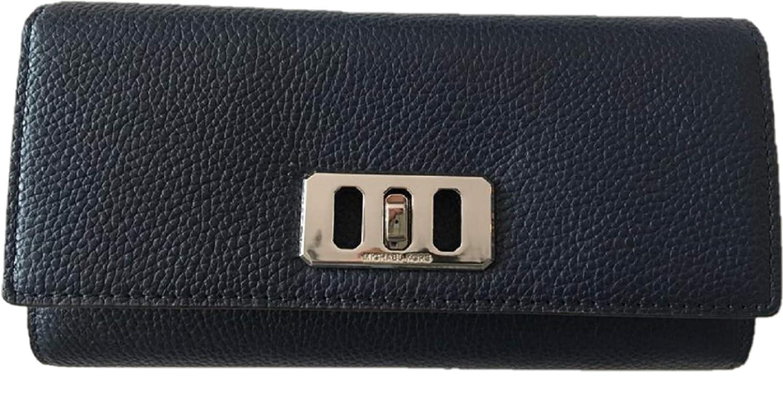 Michael Kors Karson Purse Wallet Navy Blue Pebbled Leather Large   Amazon.co.uk  Luggage 15b1f6ef13e7a