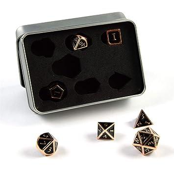 shibby 7 Dados poliédricos Steampunk en Cobre Negro para Juegos de rol y Mesa, Incluye Caja de almacenaje: Amazon.es: Juguetes y juegos