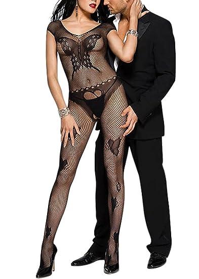 9192edbd808 Amazon.com  Music Legs Women s Fishnet Center Butterfly Design Bodystocking