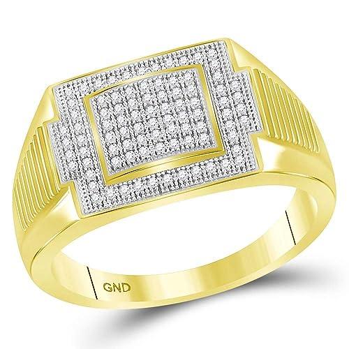 f5bb72575390 Diamond2Deal Hombre Unisex Mujer 10 quilates Oro amarillo de 10 quilates  redonda J-K diamante blanco  Amazon.es  Joyería