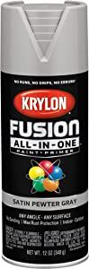 Krylon K02744007 Fusion All-In-One Spray Paint for Indoor/Outdoor Use, Satin Pewter Gray