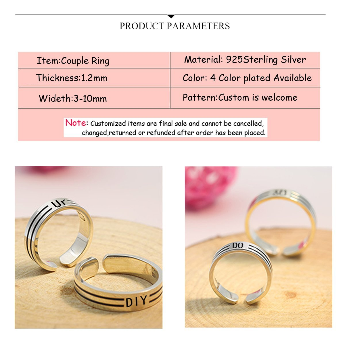 Amazon.com: Platinum/Gold/Rose Gold Plated Engraved Name Inside With ...