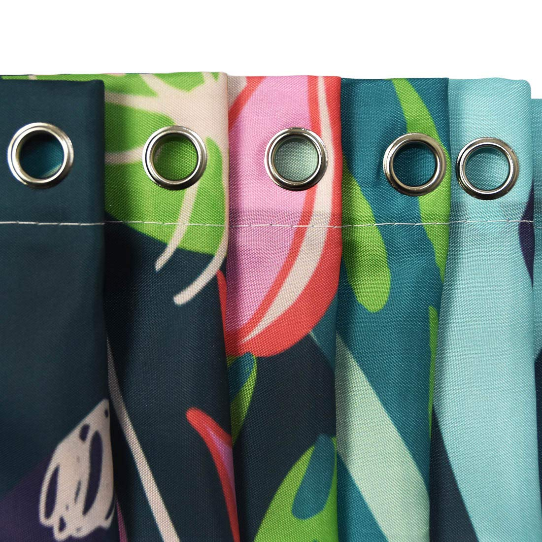 Litthing Cortina de Ducha Anti-Molde Estilo de Planta Verde 180 cm * 180 cm / 12 Anillos de Cortina para el Baño con Vibrante Colores de Impresión Digital ...