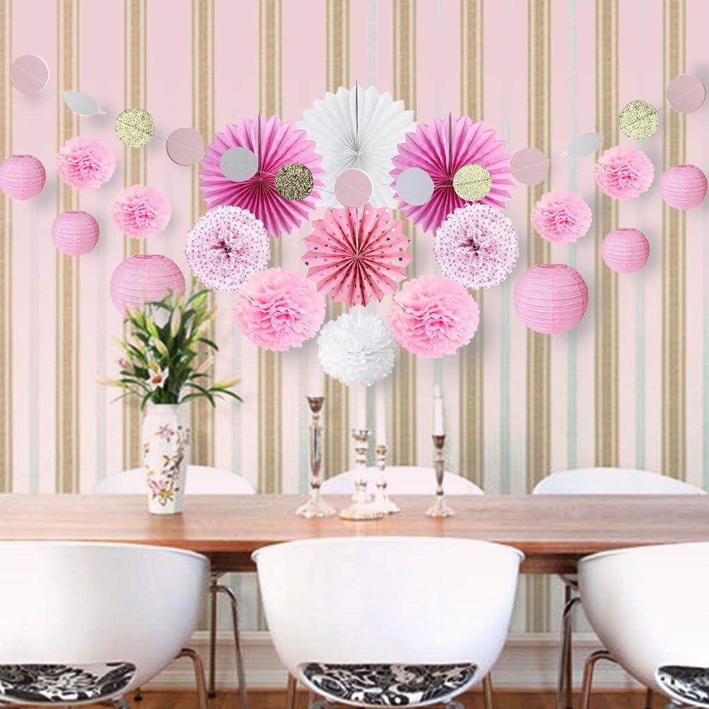 SUNBEAUTY Deco Rose Salon Blanc Chambre Fille Mariage Bapteme Baby Shower  Pompon Papier de Soie Rosace Lampion Boule Lanterne Chinoise Anniversiare