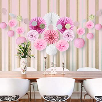 Deco Rose Salon Chambre Blanc Decoration Papier de Soie Pompon ...