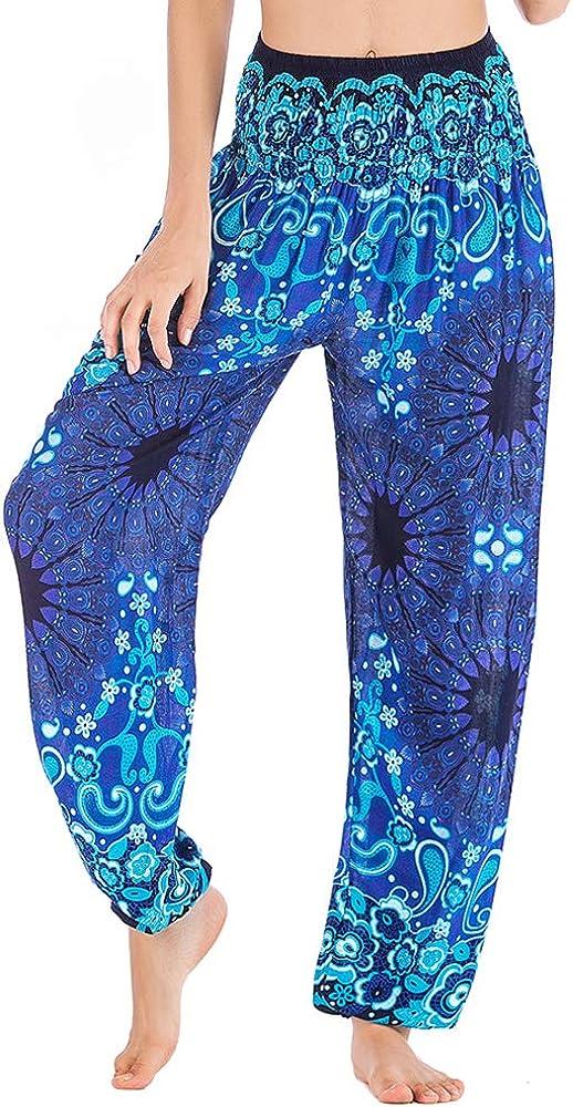 Nuofengkudu Mujer Hippie Thai Algodón Harem Pantalones con Bolsillo Boho Estampados Sueltos Pantalón Cintura Alta Indios Yoga Pants Pijama Verano Playa(Azul Flor, Talla única): Amazon.es: Ropa y accesorios