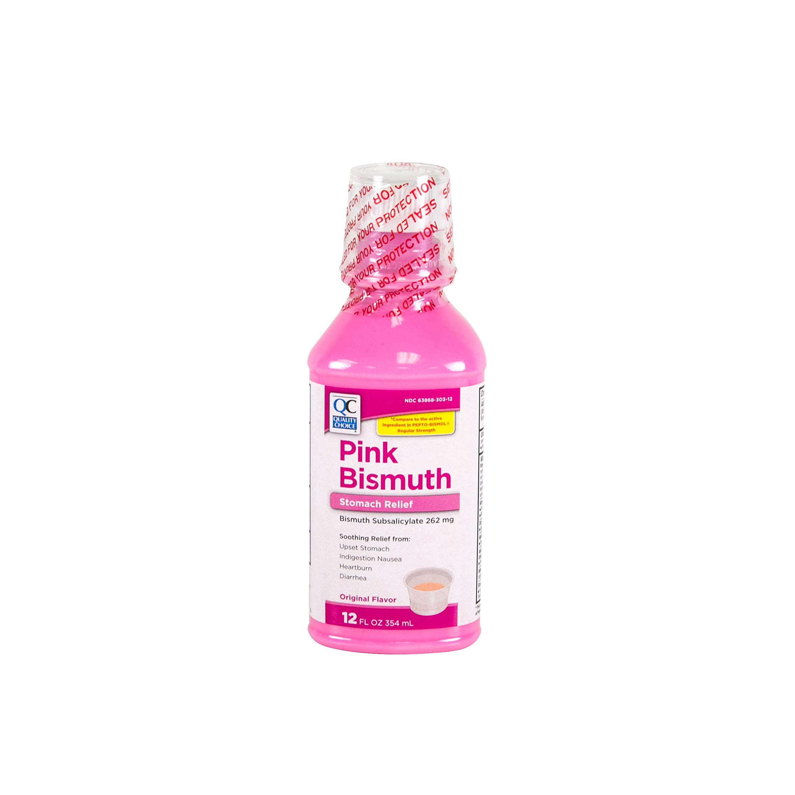 Quality Choice Regular Strength Pink Bismuth Liquid 12 Fluid Ounces (355ml) ,  Plastic Bottle (Pack of 6) by Quality Choice