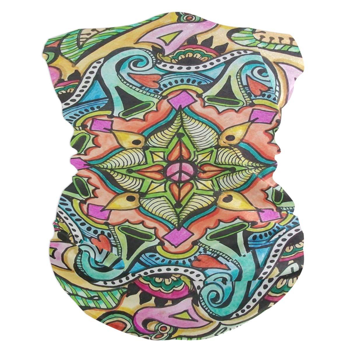 Hippie Love Bavaclava Face Mask for Women Bandana Neck Gaiter Half Face Masks Cold Weather Men kids