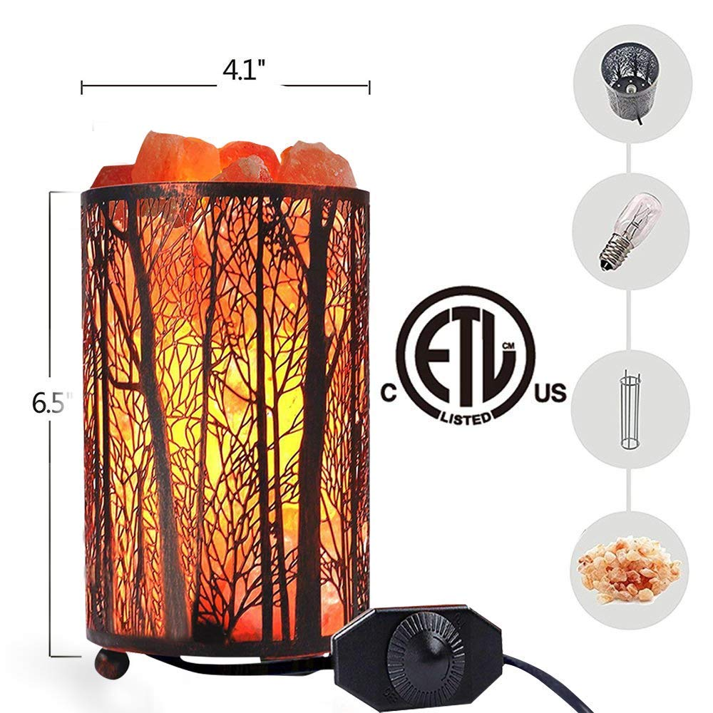 Salt Lamps, Natural Himalayan Salt Lamp, Forest Salt Lamp, Salt Night Lights, Salt Crystal Light with Retro Metal Basket Lamp and Extra 25W Lamp Bulbs by Shineled (Image #3)