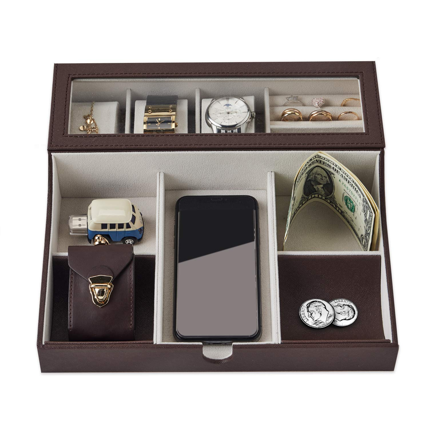 NEATOPA Valet Tray - Men Jewelry, Keys, Watch Nightstand Organizer for Perfect Life On Table Valet Box Made of Black PU Leather, Velvet with Charging Station (Dark Brown)