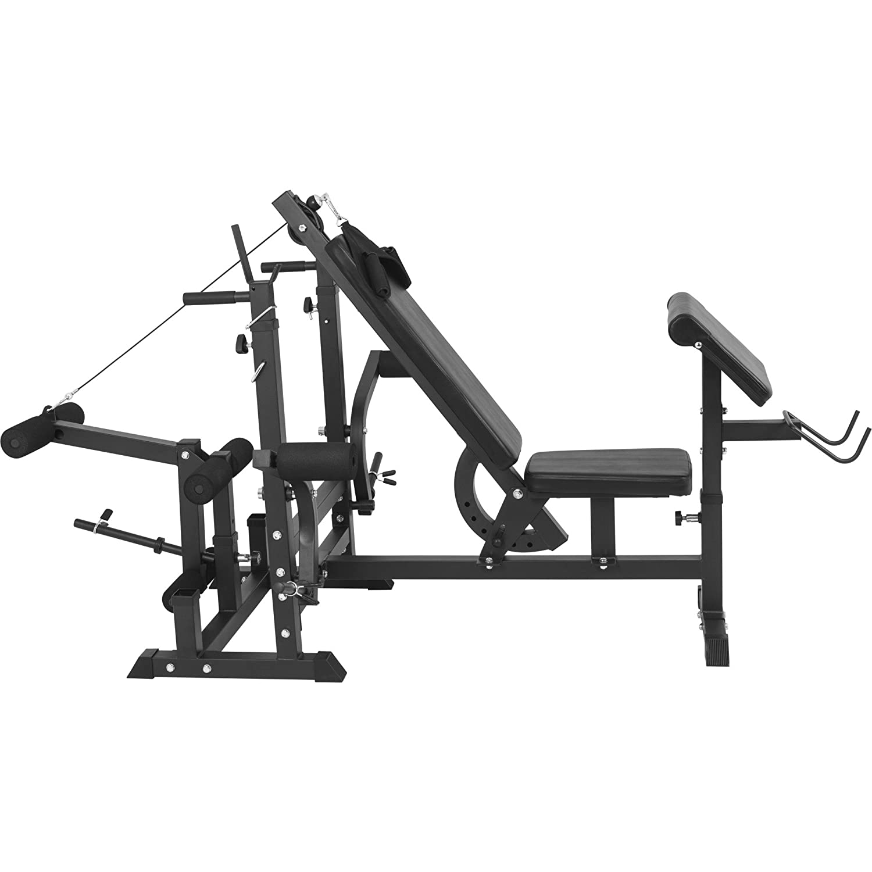 Banco de pesas Gorilla Sports – Banco de musculación para tracciones por cable, butterfly, press, curl de piernas, dips, negro: Amazon.es: Deportes y aire ...