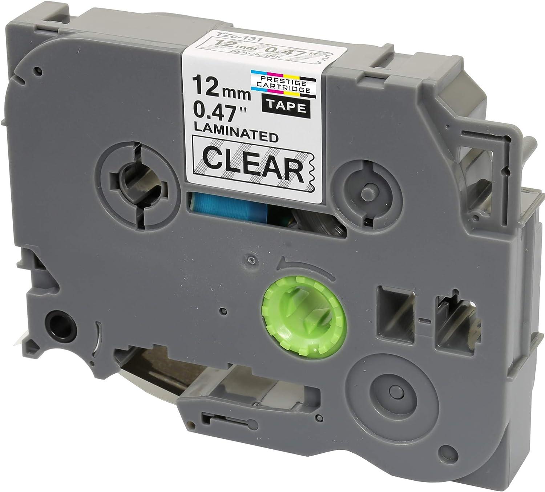 10 Compatible TZe-131 TZ-131 Black on Clear 12mm x 8m Label Tapes for Brother P-Touch PT-1000 1005 1010 3600 9600 D200 D210 D210VP D400 D450VP D600VP E100 E550WVP H101C H105 H110 H300 H500 P700 P750W
