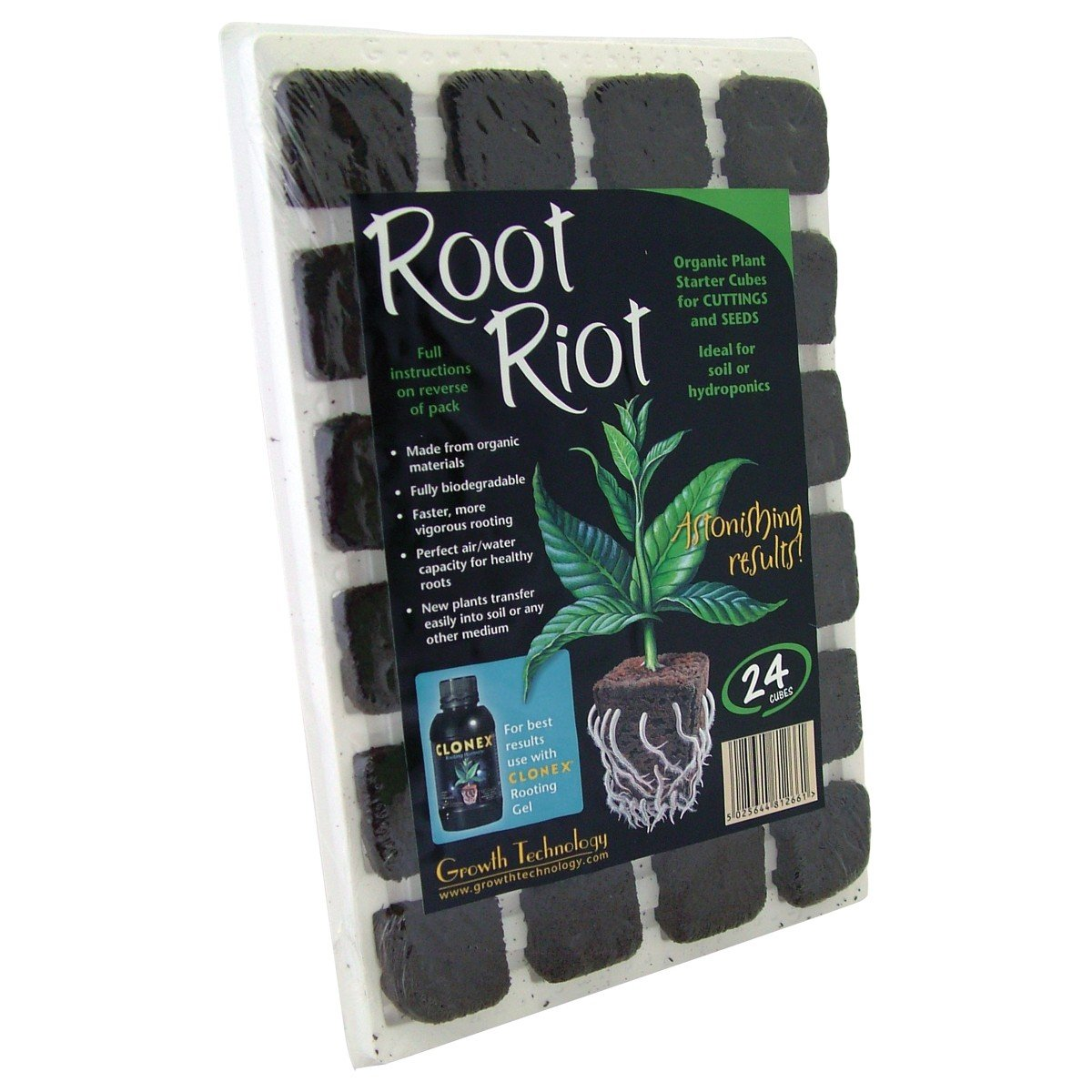 ROOT RIOT TRAY 24 CUBES GROWTH TECHNOLOGY