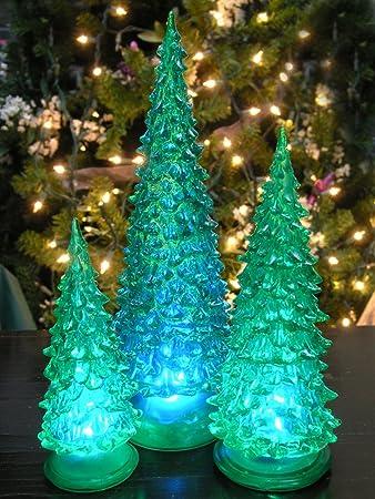 Amazon.com: Tabletop LED Christmas Trees - Set of 3 Green Acrylic ...