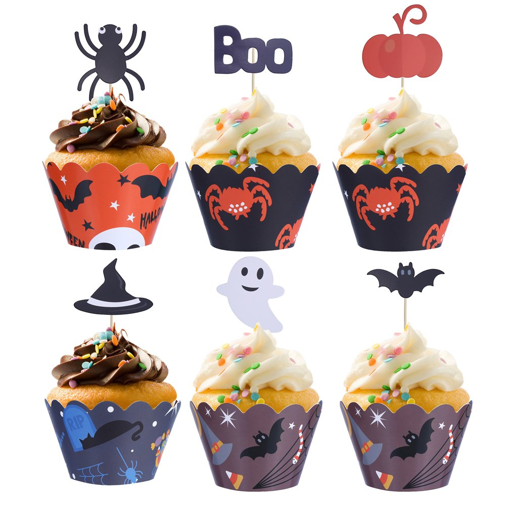 48 Halloween Cupcake Decorations Set Halloween Cupcake Wrapper Cases and Halloween Cupcake Toppers for Halloween Party Decoration LOKIPA