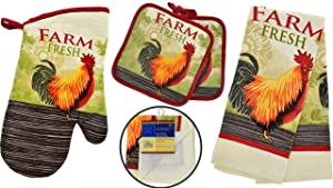 Rooster Kitchen Decor - Towel Linen Set (6 Pc) Farm Fresh Red Rooster Theme - Kitchen Towel 2 Potholders 2 Scrubber Dishcloths 1 Oven Mitt - Oven Mitts - Kitchen Decor
