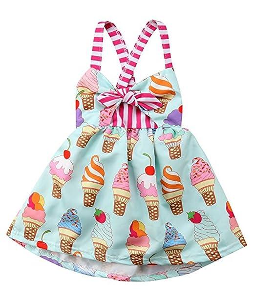 275c77da98e86 Toddler Girls Summer Ice Cream Print Princess Dress Strap Backless Dress