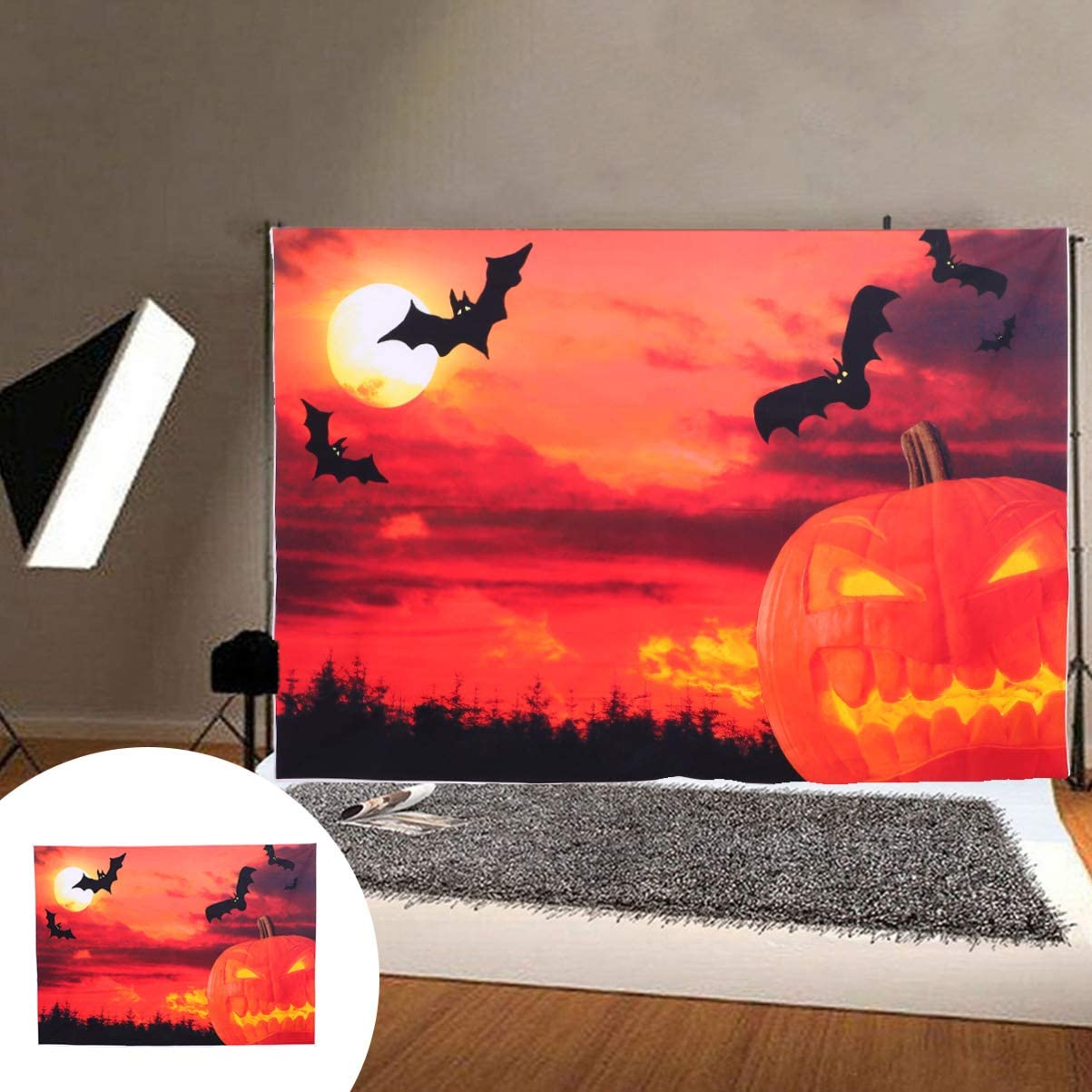 SOLUSTRE 210x150cm Halloween Backdrop Halloween Photo Props for Home Party Decoration Moon Pumkin Bat Pattern Background Hanging Cloth