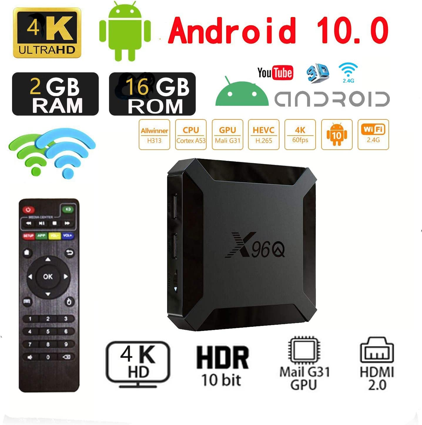 Android 10.0 TV Box, X96 Mini 2020 Versión Mejorada X96Q 2GB RAM 16GB ROM Smart TV Box Allwinner H313 Soporte Quad Core 4K 3D Set Top Box X96 Mini WiFi Home Media