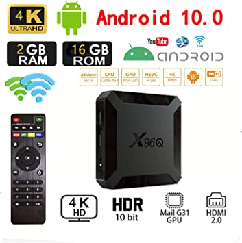Android 10.0 TV Box, X96 Mini 2020 Versión Mejorada X96Q 2GB RAM 16GB ROM Smart TV