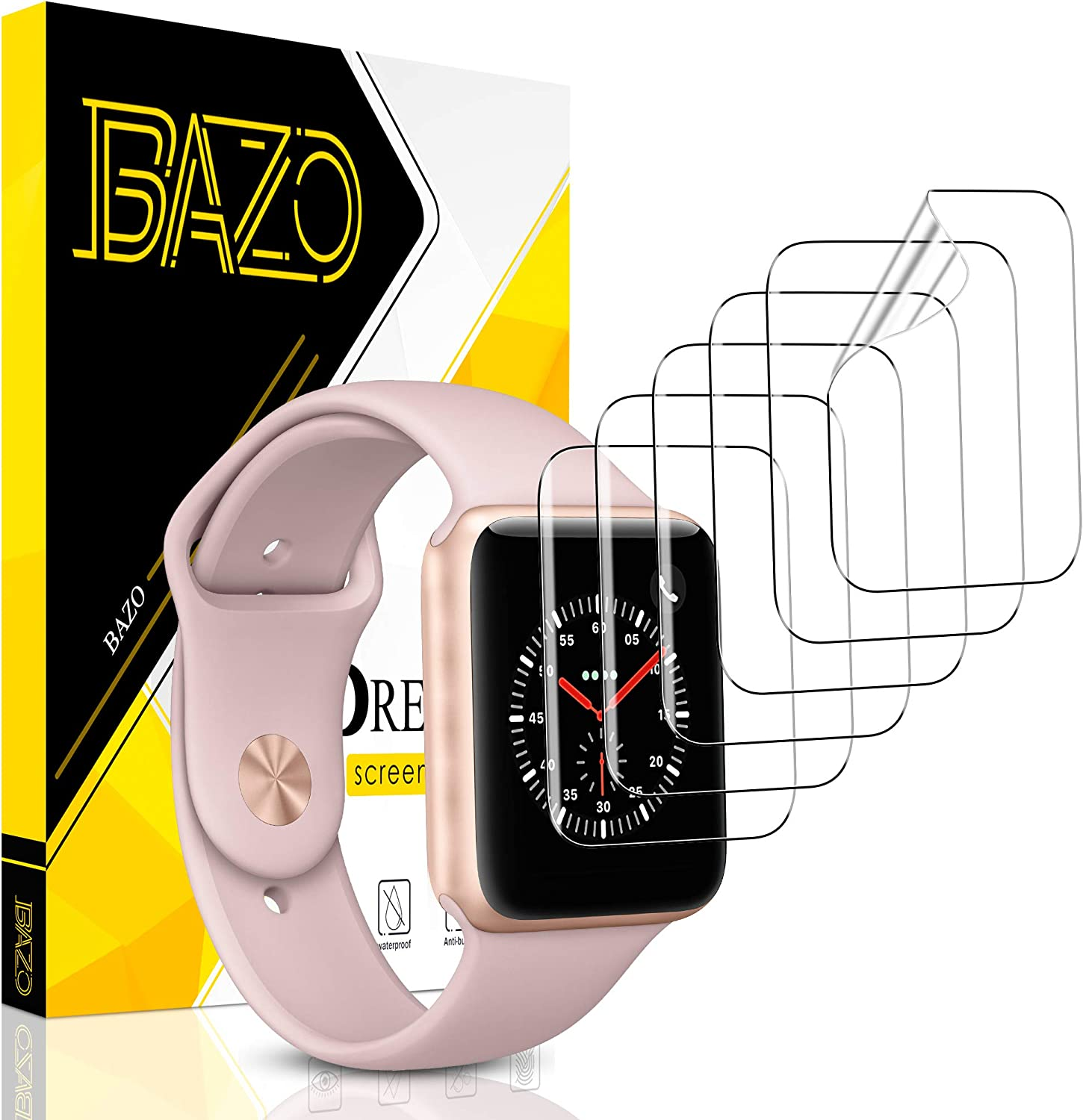 [6 Pack] BAZO Screen Protector for Apple Watch Series 3/2/1 42MM, [Soft Flexible TPU] Scratch Resistant HD Clear iWatch Film