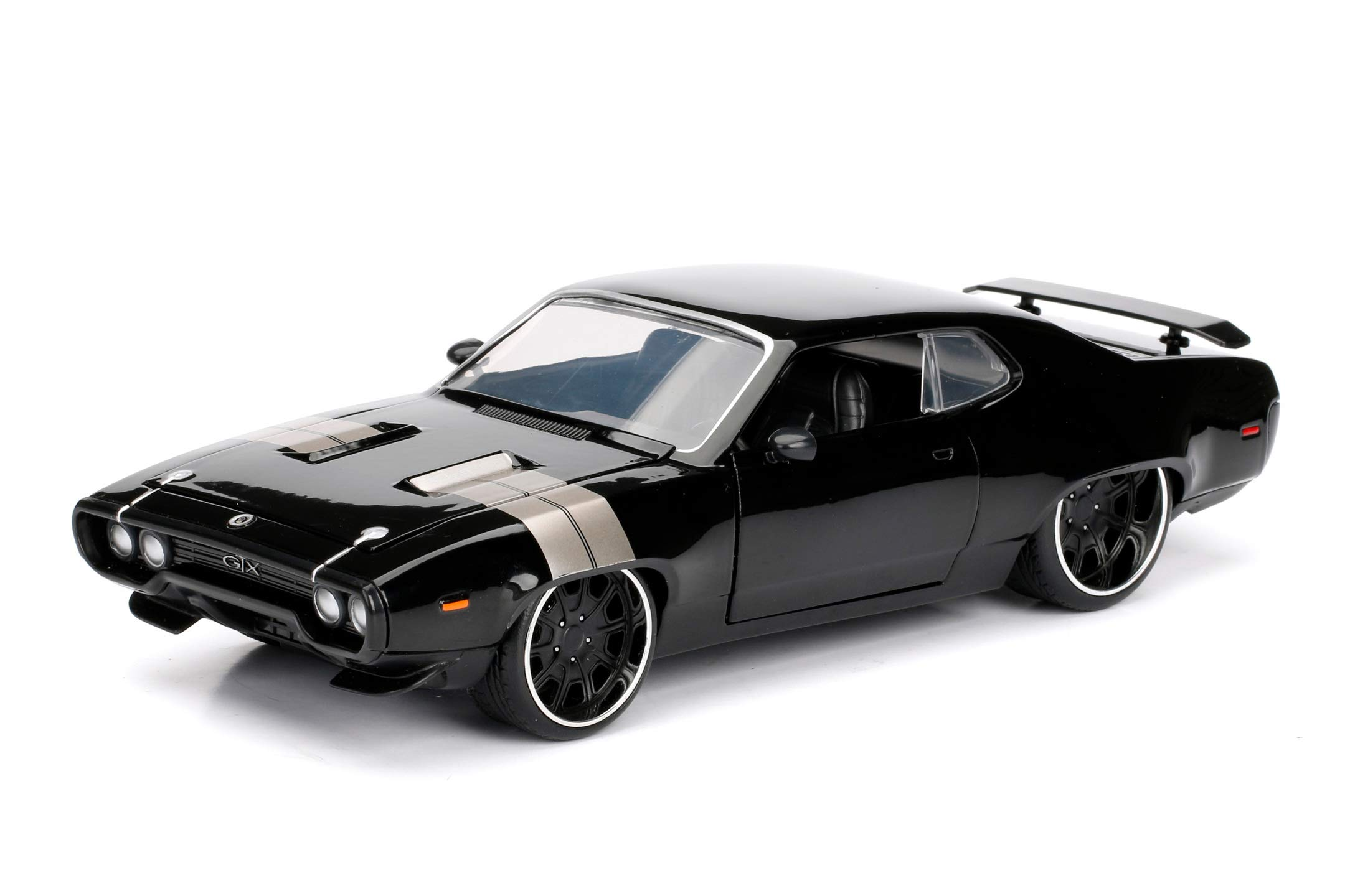 Jada Toys Fast & Furious 1:24 Dom's Plymouth GTX Die-cast Car, Toys for Kids and Adults, Black, Standard
