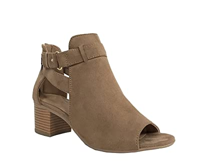 City Classified Women's Cutout Side Strap Mid Black Chunky Heel Fashion  Ankle Bootie Boots Tan 5.5