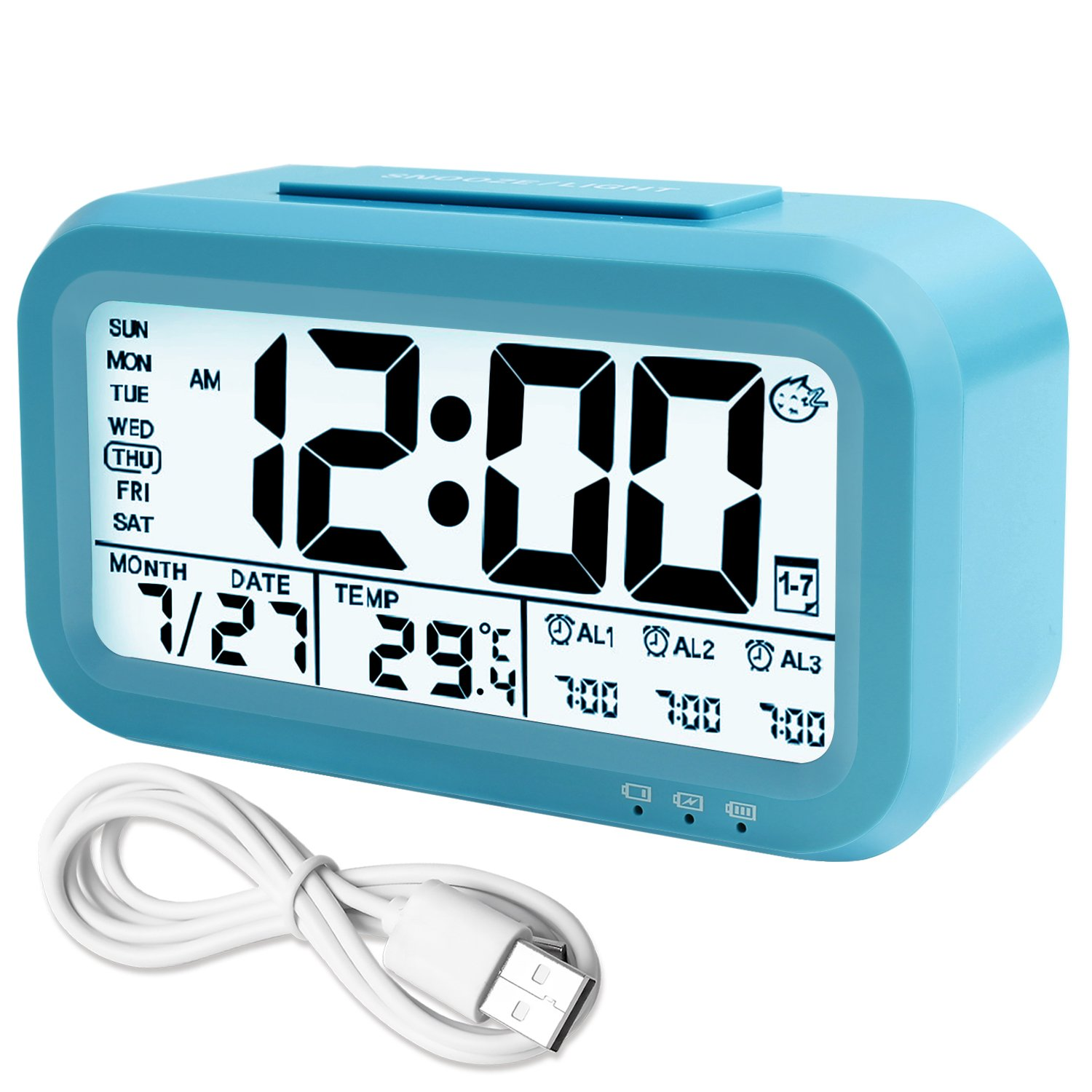 WinFong Alarm Clock, Backlight LCD Digital Alarm Clock with 3 Alarms Thermometer Calendar Large Display Smart Nightlight Soft Light Snooze, Battery Operated with USB Charger (Blue)