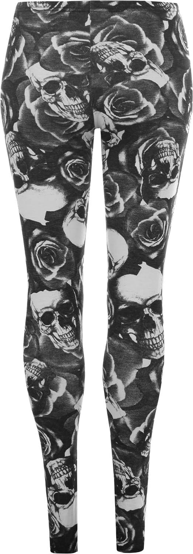 WearAll Womens Plus Size Skull Pirate Print Long Leggings Black White 27953