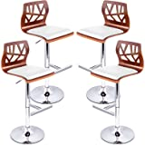 Artiss 4 Pcs Bar Stools Adjustable Height Gas Lift Counter Stools, Swivel Wooden Leather Foam Bar Chairs for Home Kitchen Dining Room Office Commercial Cafe Shops Pubs